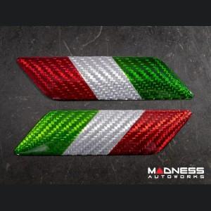 FIAT 124 Badges - Carbon Fiber - Italian Flag