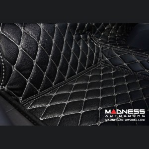 FIAT 124 Floor Liner Set - All Weather Leatherette - Black w/ White Stitching - Deluxe
