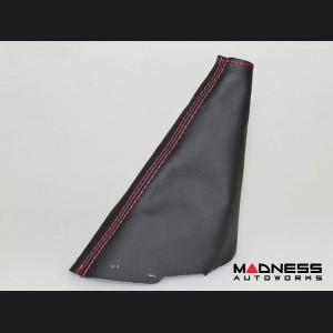 FIAT 124 Spider Gear Shift / eBrake Boot Kit - Black Leather w/ Red Stitching