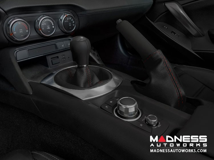 FIAT 124 Spider Gear Shift Boot - Black Leather w/ Red Stitching