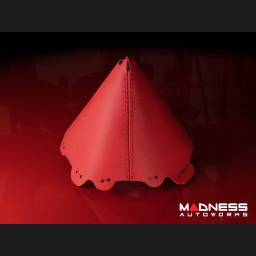 FIAT 124 Spider Gear Shift Boot - Red Leather w/ Red Stitching