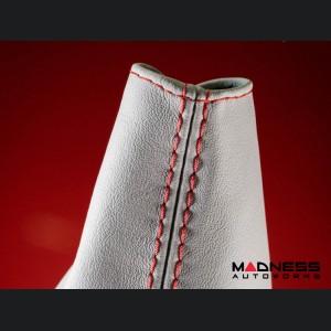 FIAT 124 Spider Gear Shift / eBrake Boot Kit - White Leather w/ Red Stitching