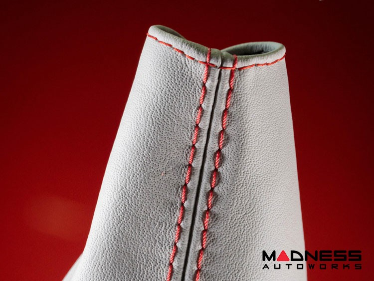 FIAT 124 Spider eBrake Boot - White Leather w/ Red Stitching