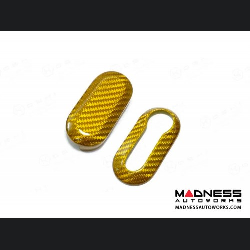 FIAT 500 Carbon Fiber Key Fob Housing - Yellow Candy