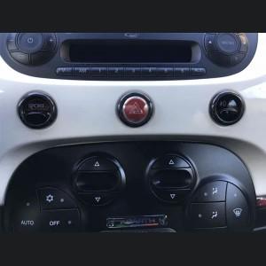 FIAT 500 Center Dashboard Button Trim Kit - Carbon Fiber - Red