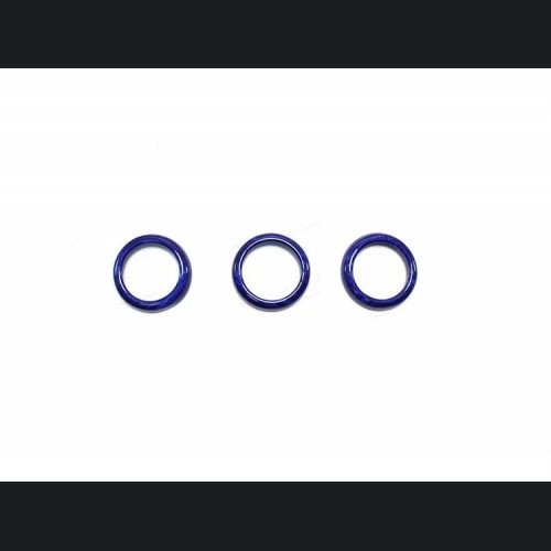 FIAT 500 Center Dashboard Button Trim Kit - Carbon Fiber - Blue