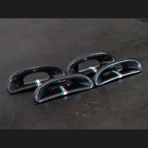 FIAT 500 ABARTH Headrest Inserts - Carbon Fiber (4pc set) - Italian Racing Stripe w/ Black Scorpion