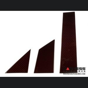 FIAT 500 Pillar Trim Set - Carbon Fiber - Red Candy - 6 pc set