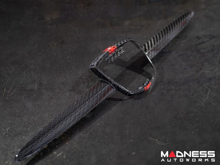 FIAT 500 ABARTH Front Emblem in Carbon Fiber - Red Racing Stripe w/ White Scorpion
