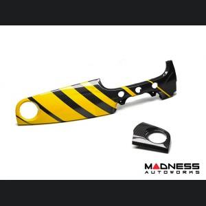 FIAT 500 Custom Dashboard - Carbon Fiber - Yellow Stripes - RHD