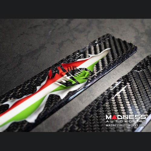FIAT 500 Door Sills - Carbon Fiber - Italian Flag Exposed