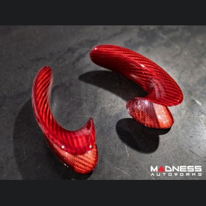 FIAT 500 ABARTH Steering Wheel Trim Set in Carbon Fiber (2 pieces) - Lateral Sides - Red Candy