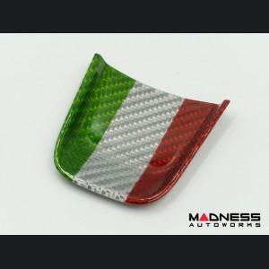 FIAT 500 ABARTH Steering Wheel Lower Center Trim Piece - Carbon Fiber - EU Model - Italian Flag