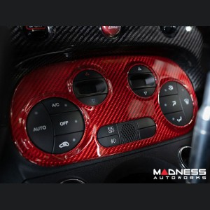 FIAT 500 Temperature Control Panel - Carbon Fiber - Automatic - Red Candy