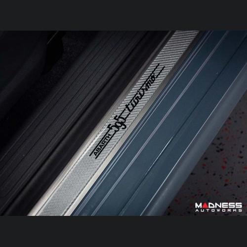 FIAT 500 Door Sills - Stainless Steel w/ Silver Carbon Fiber Inlays - 595 Turismo Logo