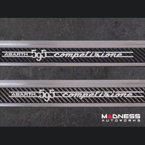 FIAT 500 Door Sills - Stainless Steel w/ Black Carbon Fiber Inlays - 595 Competizione Logo