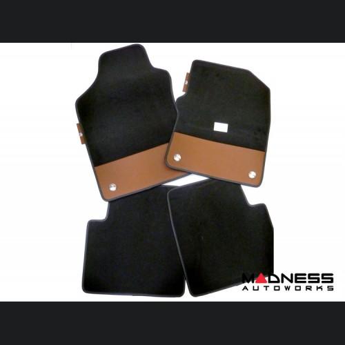 FIAT 500 Floor Mats - Plush Carpet - 595 Leather - Front + Rear Set
