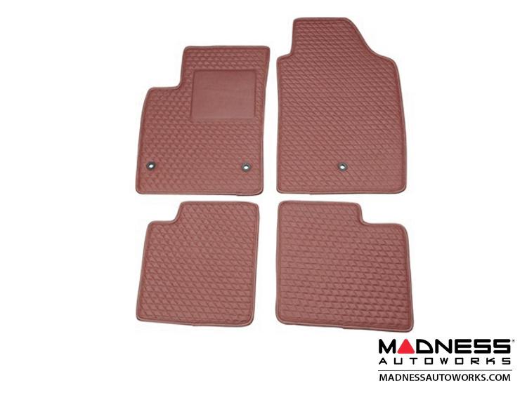 FIAT 500 Floor Mats - Italian Leather - Front + Rear Set - Burgundy/ Wine