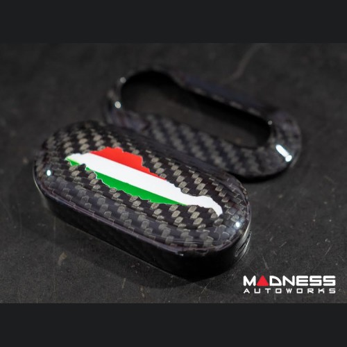 FIAT 500 Key Fob Housing - Carbon Fiber - Italian Flag