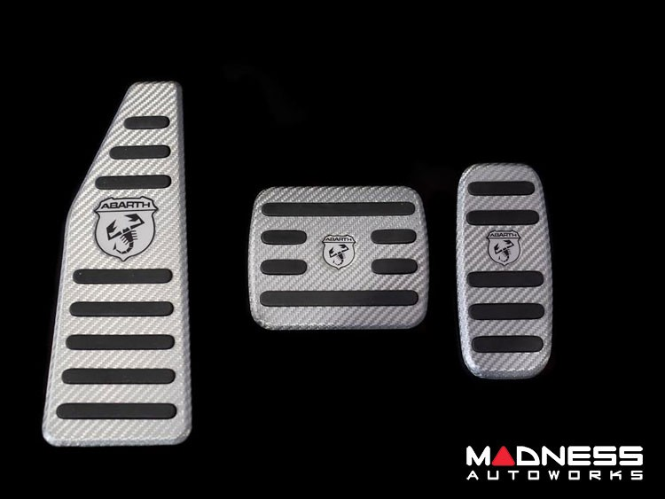FIAT 500 Pedal Set + Footrest - Alutex Carbon Fiber - Silver Carbon - ABARTH - Automatic