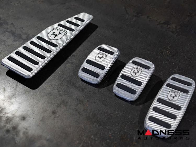 FIAT 500 Pedal Set + Footrest - Alutex Carbon Fiber - Silver Carbon - ABARTH - Manual