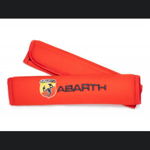 Seat Belt Shoulder Pads - set of 2 - ABARTH Crest and Logo - Red
