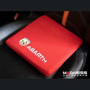 Seat Cushion - Red w/ ABARTH Crest + Logo in White - Perforated