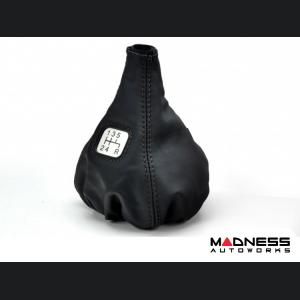 FIAT 500 Gear Shift Boot - Black Leather w/ Black and Gear Shift Pattern
