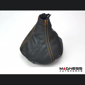 FIAT 500 Gear Shift Boot - Black Leather w/ Orange Stitching