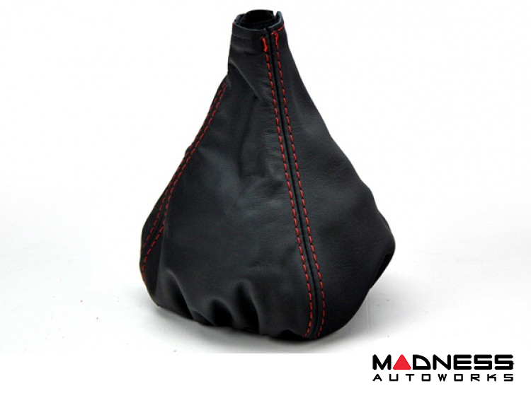 FIAT 500 Gear Shift Boot - Black Leather w/ Red Stitching