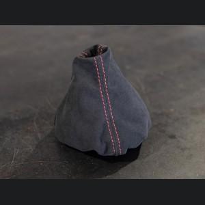 FIAT 500 Gear Shift Boot - Alcantara - Black w/ Red Stitching