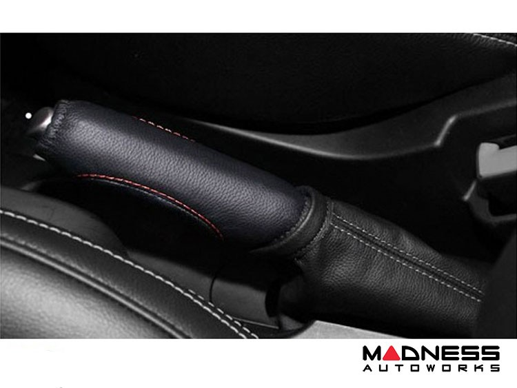 FIAT 500 eBrake Handle Cover - Leather - Black w/ Red Stitching