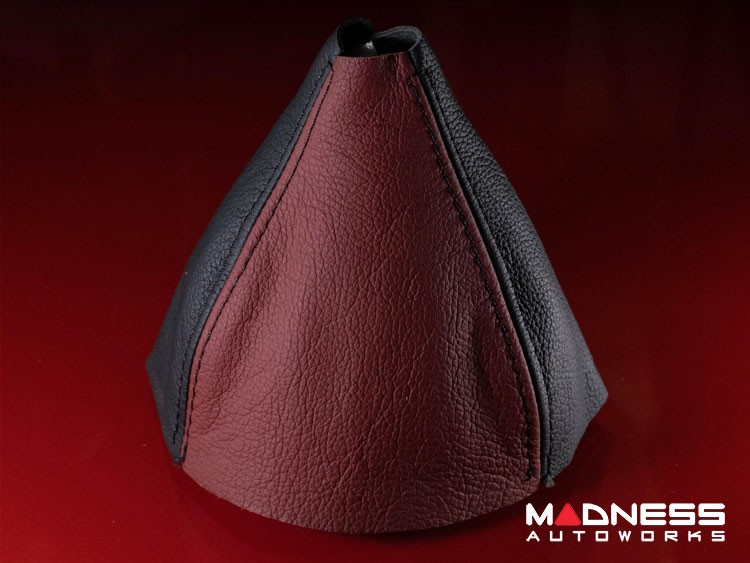 FIAT 500 Gear Shift Boot - Maroon and Black Leather
