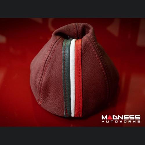 FIAT 500 Gear Shift Boot - Maroon Leather w/ Italian Stripes