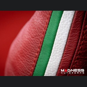 FIAT 500 Gear Shift Boot - Red Leather w/ Italian Stripes