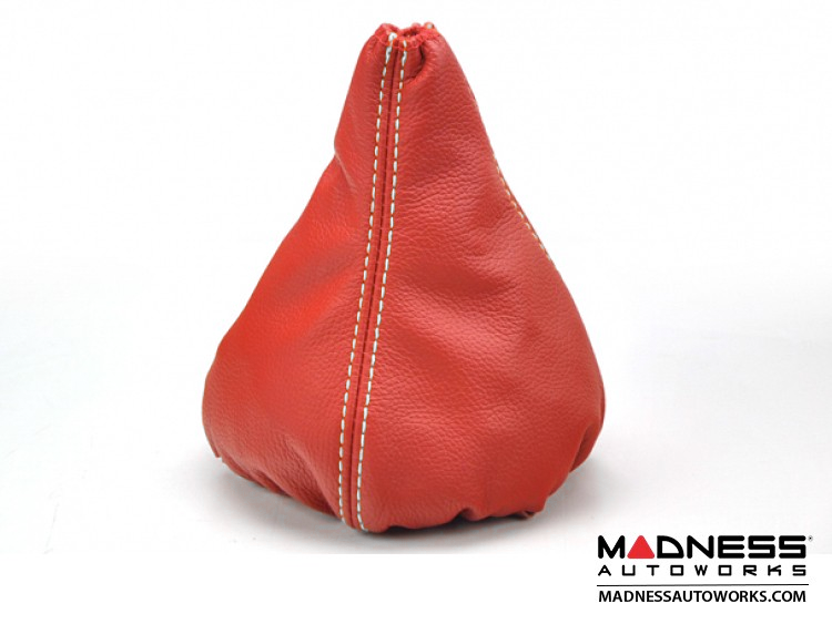 FIAT 500 Gear Shift Boot - Red Leather w/ White Stitching
