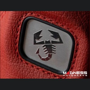 FIAT 500 Gear Shift Boot - Red Leather w/ ABARTH Logo