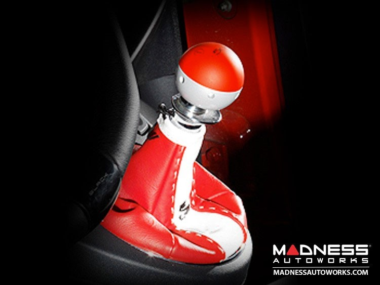 FIAT 500 Gear Shift Boot - Red and White Leather - Tuxedo w/ Scorpion Logo