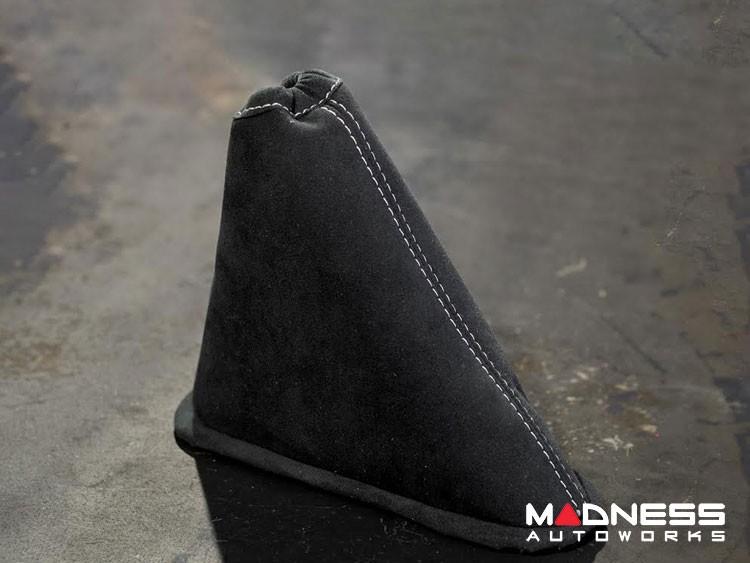FIAT 500 eBrake Boot - Alcantara - Black w/ White Stitching