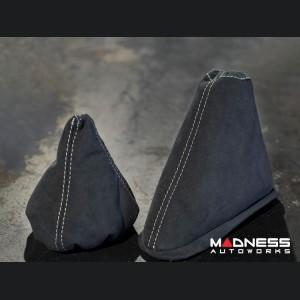 FIAT 500 Gear Shift Boot and eBrake Boot Set - Alcantara - Black w/ White Stitching