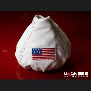 FIAT 500 Gear Shift Boot - White Leather w/ American Flag & Red/ Blue Stitching