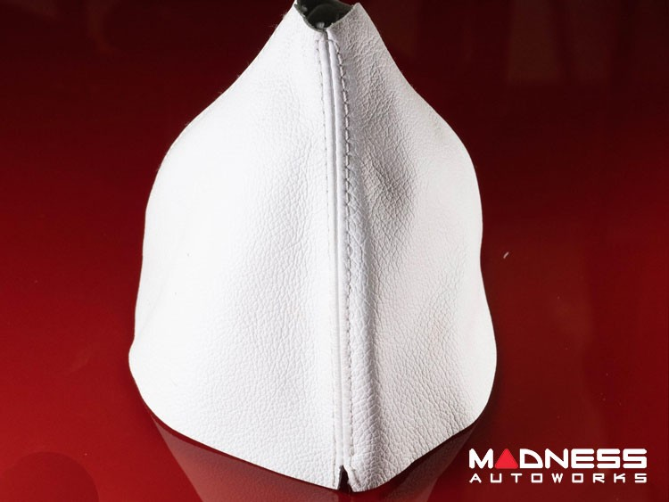 FIAT 500 Gear Shift Boot - White Leather w/ White Stitching