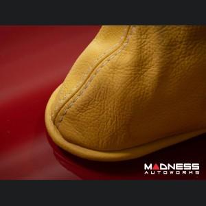 FIAT 500 eBrake Boot - Yellow Leather w/ White Stitching