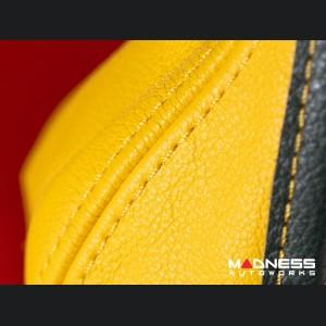 FIAT 500 Gear Shift Boot - Yellow Leather w/ Italian Stripes