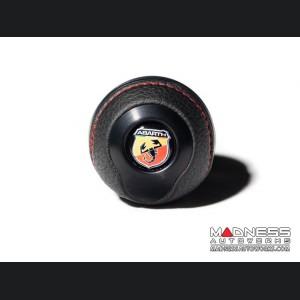 FIAT 500 Gear Shift Knob by BLACK  - Black Base/ Black Leather Top + ABARTH Logo - V2