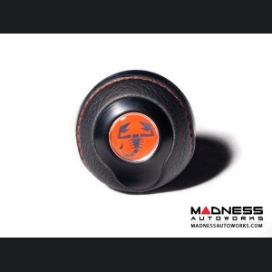 FIAT 500 Gear Shift Knob by BLACK  - Black Base/ Black Leather Top + Red ABARTH Logo - V2