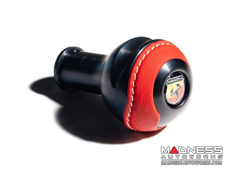 FIAT 500 Gear Shift Knob by BLACK  - Black Base/ Red Leather Top + ABARTH Logo - V2