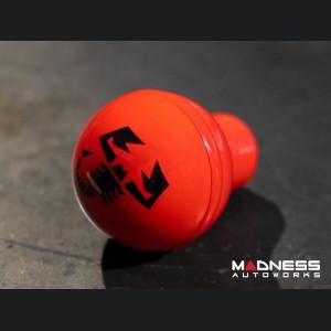 FIAT 500 Gear Shift Knob by BLACK  - Red Base Red Top w/ Black ABARTH Scorpion Logo - V1