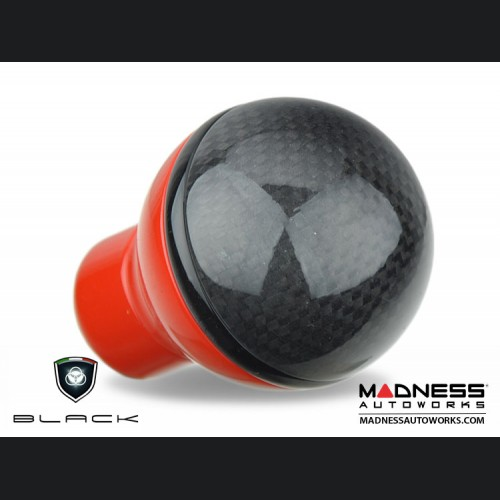 FIAT 500 Gear Shift Knob by BLACK - Carbon Fiber Top/ Red Base