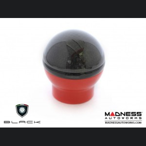 FIAT 500 Gear Shift Knob by BLACK - Carbon Fiber Top/ Red Base - w/ Reverse Lockout